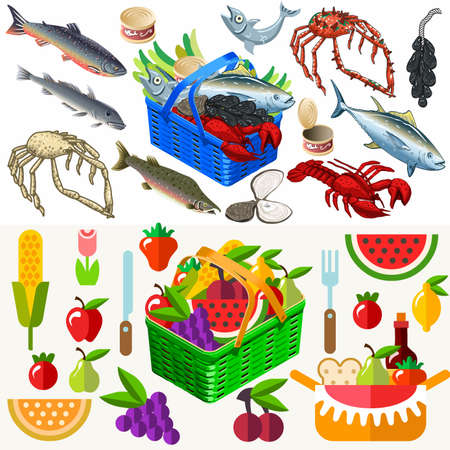 bluefish: Mixed Types of Freshly Fish Shell Shellfish and Mollusc near a Flat 3d Isometric Food Basket of Gorgeous Vegetables and Fruits. Illustration