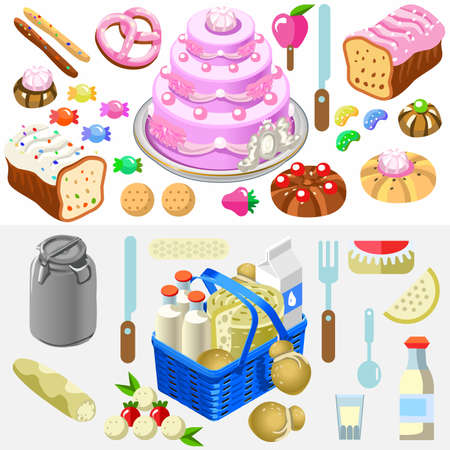 cake with icing: Fragrant Mixed Types of Freshly Sweets Baked Cake with Candy near a Flat 3d Isometric Food Basket of Gorgeous Dairy Products. Illustration