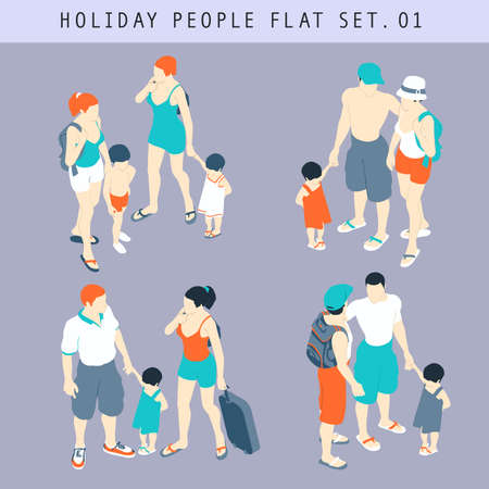 Flat Style Tourist People In Casual Clothes Infographic Vector Icon Set  Situations Web Template. Men