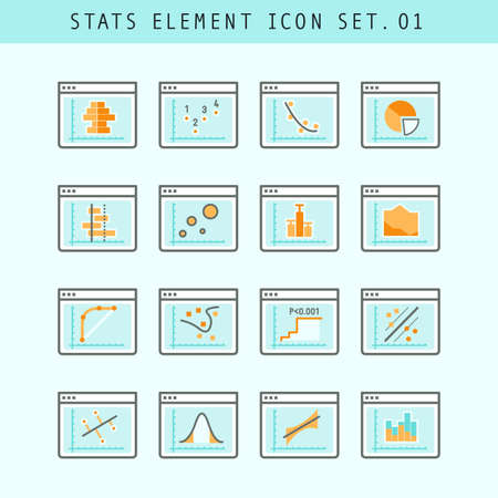 Line icons with flat design of statistic elements for business financial laboratory or medical research. Modern infographic logo collection concept.