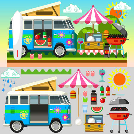 cloudless: Stylish Set with Colorful and Flat Style Summer Picnic Equipment Umbrella Hamburger Basket Sausages Wine Barbecue for your Unforgettable Holidays