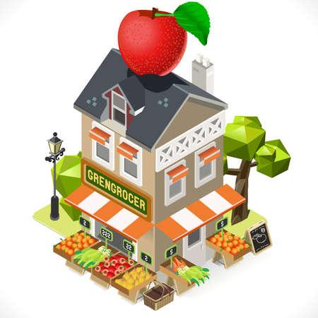 八百屋店建物上部に大きなリンゴです。独自のアイソ メトリック ゲーム約濃淡ベクトル等尺性のアイコンの 3 D タイル。  イラスト・ベクター素材