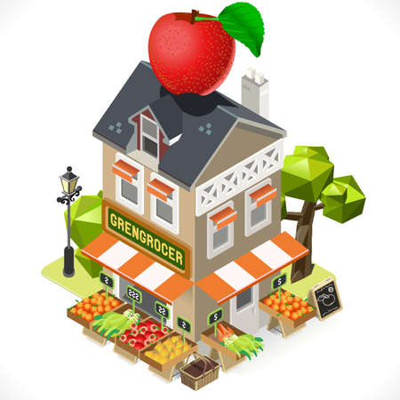 greengrocer: Greengrocer Shop Building with a Big Apple at the Top. 3D Tile for Your Own Isometric Game App. Tint Vector Isometric Icon. Illustration