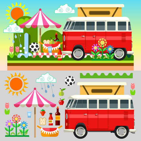 Happy Summertime. Stylish Flat Set which contains Gorgeous Grilled Steak Sandwiches Fruits and Equipment for your Unforgettable Picnic Stylish Set with Colorful and Flat Style Summer Picnic Equipment Basket Umbrella Food Hippie Van for your Unforgettable