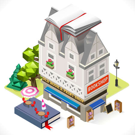 book store: Retro Book Shop Building with a Big Book at the Top. 3D Tile for Your Own Isometric Game App. Tint Vector Isometric Icon. Illustration