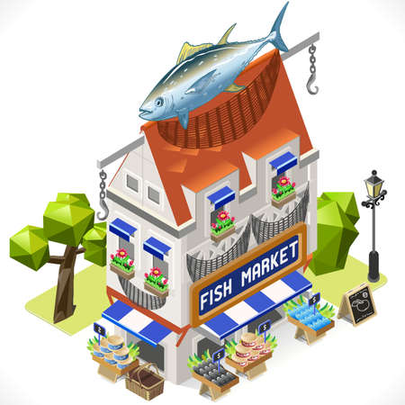 chain food: Fishmonger Shop Building with a Big Tuna Fish at the Top. 3D Tile for Your Own Isometric Game App. Tint Vector Isometric Icon.