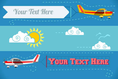 skies: Vector Flying Advertising Banners Pulled by Light Plane. For Web Banners or Templates and Printable Materials. Modern Flat Vector Concept Design