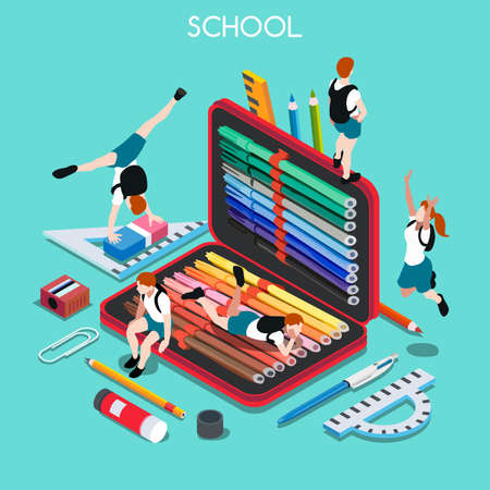 School Chancellery Set 03. Interacting People Unique Isometric�Realistic Poses. NEW lively palette 3D Flat Vector Illustration. Happy Back to School Illustration