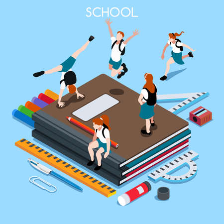 School Chancellery Set 04. Interacting People Unique IsometricRealistic Poses. NEW lively palette 3D Flat Vector Illustration. Happy Back to School Illustration