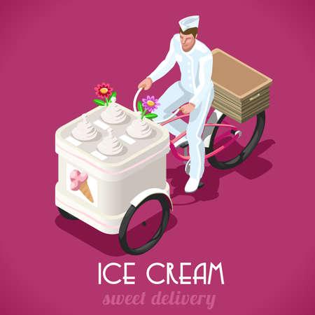 carretto gelati: IceCream Food Truck Triciclo. NUOVA tavolozza vivace 3D piatto Vector vintage set. Dolci persone Concetto consegna. Unico IsometricRealistic Pose. Vettoriali
