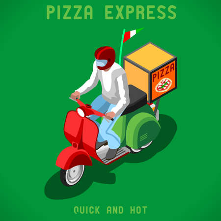 pizza place: Pizza Scooter Delivery Man. Flat People Collection Unique IsometricRealistic Pose. NEW lively palette 3D Flat Vector Icon Set. Isometric Infographic Web Concept Template Illustration