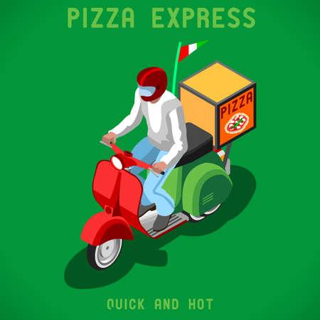 box of pizza: Vespa del hombre de la pizza entrega. La gente plana colecci�n �nica IsometricRealistic Pose. NUEVA viva paleta plana 3D Vector Icon Set. Plantilla isom�trica Concepto Web Infograf�a