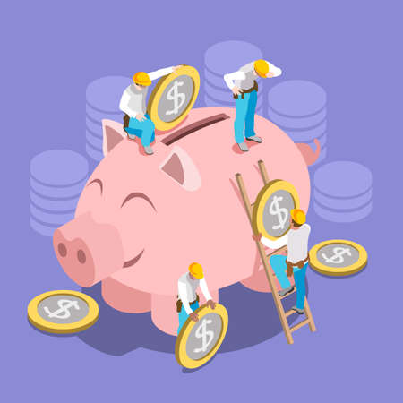 less: Saving Money Concept. Interacting People Unique Isometric Realistic Poses. NEW lively palette 3D Flat Vector Illustration Hard Hat Mini People Set Put in Coins to Piggy Bank Illustration