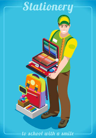 Stationer Poster with Chancellery. Unique IsometricRealistic Pose. NEW lively palette 3D Flat Vector Illustration. Happy Back to School