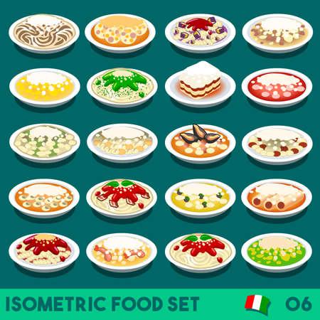 Pasta COMPLETE Collection. NEW lively palette 3D Flat Vector Icon Set of Italian Menu. Italian Pasta Salad Recipes Carbonara Chicken Shrimp Scampi Zucchini Pesto Bolognese Vector Illustration Dish