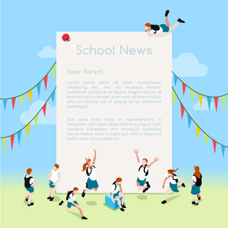 ministry: School Magazine Letter Template. Interacting People Unique IsometricRealistic Poses. NEW lively palette 3D Flat Vector Illustration. Stylish Message or Note Illustration