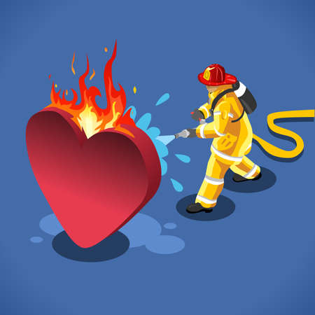 Fireman: Sick Heart and his Fireman. NEW lively palette 3D Flat Vector Icon. Rescue of a Burning Emotion Vector Concept