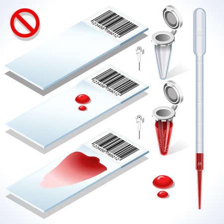 red tube: Hematología Test Kit 3D isométrico Set. Equipos de laboratorio para el análisis médicos o científicos Investigación Traslacional. Blanca Diapositivas Muestra de sangre tubo lleno vacío Eppendorf y pipeta