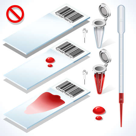 tests: Hematology Test Kit 3D Isometric Set. Laboratory Equipment for Medical Analysis or Scientific Translational Research. White Slides Blood Sample Filled Tube Empty Eppendorf and Pipette