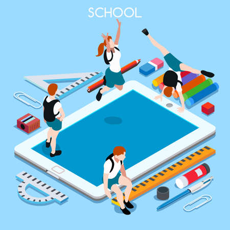 chancellery: School Devices Set 03 Tablet. Interacting People Unique IsometricRealistic Poses. NEW lively palette 3D Flat Vector Illustration. Happy Back to School Illustration