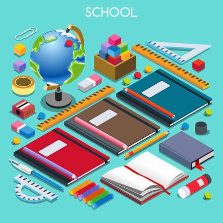 学校首相府は 07 を設定します。相互作用する人々 のユニークな IsometricRealistic ポーズ。新しい活気のあるパレット 3 D 平面ベクトル図です。学校に