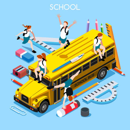 lively: School Chancellery Set 06. Interacting People Unique IsometricRealistic Poses. NEW lively palette 3D Flat Vector Illustration. Happy Back to School
