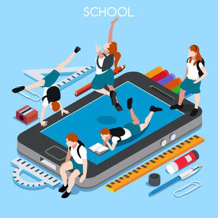 학교 디바이스는 01 스마트 폰을 설정합니다. 상호 작용하는 사람들의 고유 IsometricRealistic 포즈. 새로운 활기 넘치는 팔레트 3D 평면 벡터 일러스트 레이
