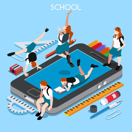 chancellery: School Devices Set 01 Smartphone. Interacting People Unique IsometricRealistic Poses. NEW lively palette 3D Flat Vector Illustration. Happy Back to School