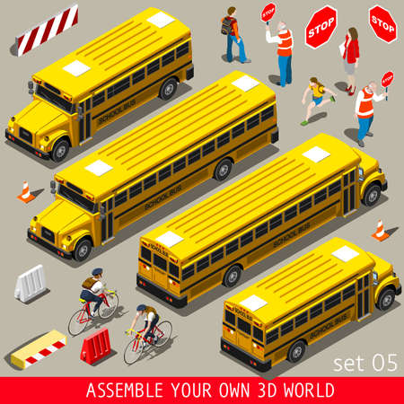 Back to School People and Vehicles. NEW lively palette 3D Flat Vector Icon Set. Yellow School Bus with Teacher Students Assistants Volunteers Collection. Assemble your Own 3D World