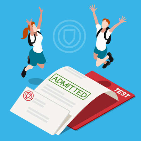School Admission Letter. Interacting People Unique IsometricRealistic Poses. NEW lively palette 3D Flat Vector Illustration. Passed Test Happy Back to School 向量圖像