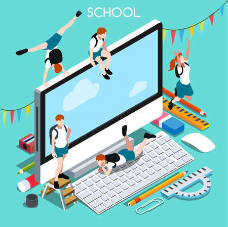 students in class: School Devices Set 02 Desktop Personal Computer. Interacting People Unique IsometricRealistic Poses. NEW lively palette 3D Flat Vector Illustration. Happy Back to School
