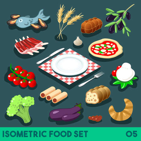 A Lot on my Plate. Modular Food Elements. Street Food Diet. NEW lively palette 3D Flat Vector Icon Set. Isometric Restaurant Fastfood Bistro Infographic Concept Web Template. Illustration