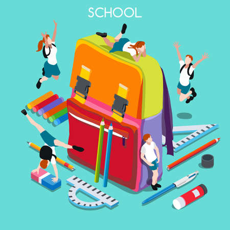 school backpack: School Chancellery Set 01. Interacting People Unique IsometricRealistic Poses. NEW lively palette 3D Flat Vector Illustration. Happy Back to School