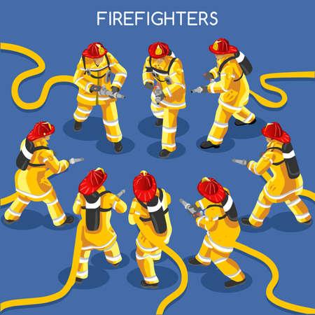 Brandweerlieden met Hydrant Set 01. Interacting People Unique IsometricRealistic Poses. NEW levendig palet 3D Flat Vector Icon Set. Monteer je eigen 3D-wereld Stock Illustratie
