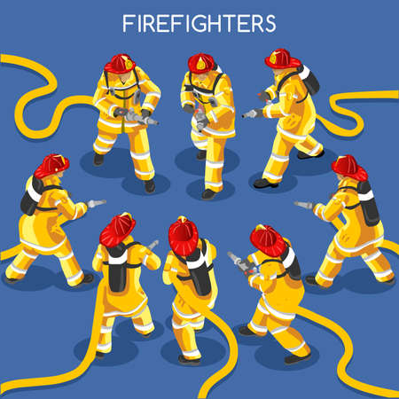 Firefighters with Hydrant Set 01. Interacting People Unique IsometricRealistic Poses. NEW lively palette 3D Flat Vector Icon Set. Assemble your Own 3D World