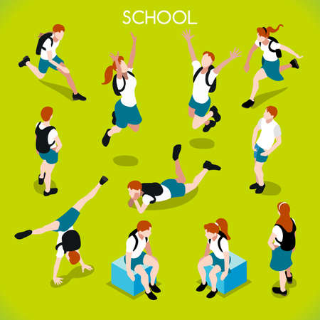 School Students Set 01. Interacting People Unique IsometricRealistic Poses. NEW lively palette 3D Flat Vector Icon Set. Assemble your Own 3D World