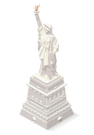american cities: Liberty Statue Isometric 3D Landmark New York Manhattan Usa Element Soft Colors Design. Assemble your Own 3D World Illustration