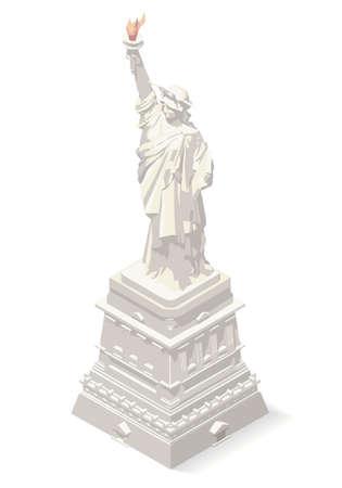Liberty Statue Isometric 3D Landmark New York Manhattan Usa Element Soft Colors Design. Assemble your Own 3D World Illustration