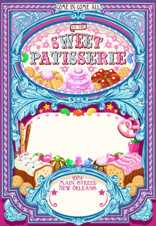 cake background: Invitation Brochure with Sweets. Vintage Vector Template. Background with Sweets Jelly Beans Dessert Candies Cake