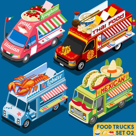 食べ物: フード トラック コレクション。食品配送のマスター。屋台のシェフの Web テンプレートです。新しいフラット 3次元等尺性ベクトルのフード トラックを設定します