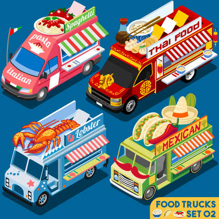 Food Truck Collection. Food Delivery Master. Street Food Chef Web Template. NEW Flat 3d Isometric Vector Food Truck Set. Full of Taste and High Quality Dishes Alternative Street Cuisine