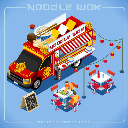 chinese noodles: Chinese Noodle Wok Food Truck Delivery Master. Street Food Chef Web Template NEW bright palette 3D Flat Vector Icon Set Isometric Food Truck Full Taste High Quality Dishes Alternative Street Cuisine