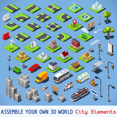 assemble: City Map Elements COMPLETE and TESTED Set. NEW bright palette 3D Flat Vector Icon Set. Urban Fabric Road House Building Car and Truck Vehicle Isolated Vector Collection. Assemble Your Own 3D World