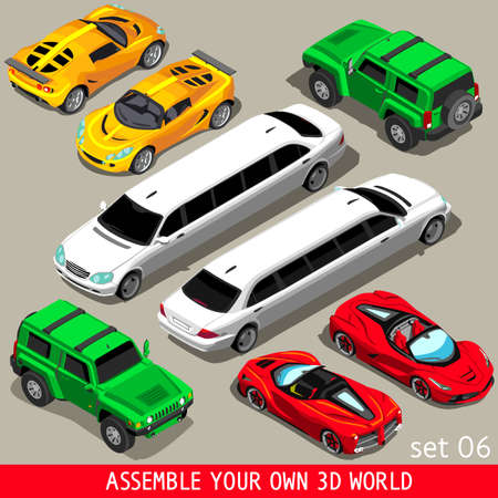 City Transport NEW bright palette 3D Flat Vector Icon Set. Isometric Cabrio Sportscar SUV Luxury High Class Limousine. Assemble your own 3D world collection. Web Infographic Vehicles