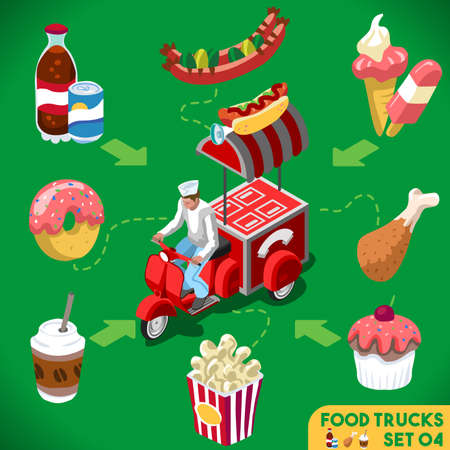 Food Collection Modular Peddler Truck. Food Delivery Master. Street Food Chef Web Template. NEW Flat 3d Isometric Vector Food Truck Set. Full Taste and High Quality Dishes Alternative Street Cuisine