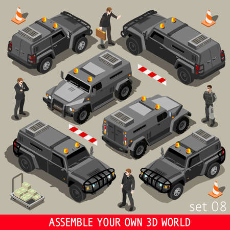 guardia de seguridad: Servicio blindado pesado Vehículo Blindado y Detalle de Seguridad Body Guard. NUEVA gama de colores brillantes del vector 3D isométrico Set plana.