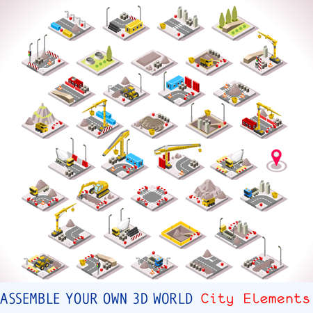 City Building Construction Site Tiles MEGA Collection Warehouse and Other Isometric 3d Urban Map Elements Set of Game Tiles Çizim