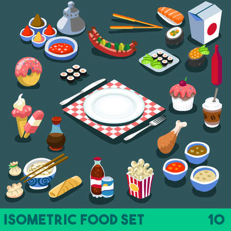 A Lot on my Plate. Modular Food Elements Street Food Diet NEW bright palette 3D Flat Vector Icon Set Isometric Restaurant Fastfood Infographic Concept Web Template. Cola Fried Chips Chinese Box Coffe