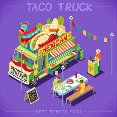 Mexican Taco Food Truck. Delivery Master. Street Food Chef Web Template. NEW bright palette 3D Flat Vector Icon Set Isometric Food Truck Full of Taste High Quality Dishes Alternative Street Cuisine Illustration