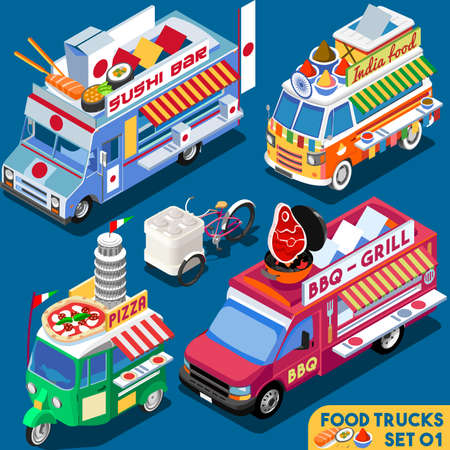 식품 트럭 컬렉션. 음식 배달 마스터. 길거리 음식 요리사 웹 템플릿입니다. 새로운 밝은 팔레트 3D 평면 벡터 아이콘 설정 아이소 메트릭 음식 트럭. 전